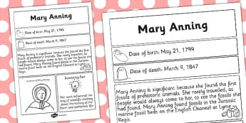 Mary Anning Significant Individual Fact Sheet - fact, sheet