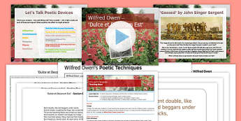 Wilfred Owen Dulce Lesson Pack - wilfred owen, dulce, lesson pack, lesson, pack
