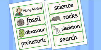 Mary Anning Word Cards - mary anning, word cards, topic cards, themed word cards, themed topic cards, key words, key word cards, keyword, writing aid, aid