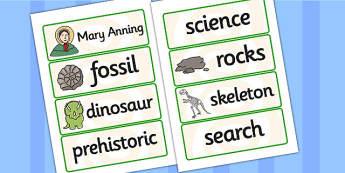 Mary Anning Word Cards - mary anning, word cards, topic cards, themed word cards, themed topic cards, key words, key word cards, keyword, writing aid, aid