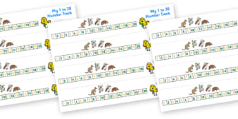 Australian Animal Number Track (1-20) - Maths, Math, number track, australian animals, numbertrack, Counting, Numberline, Number line, Counting on, Counting back
