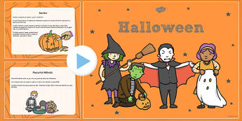 Halloween - Prezentare Powerpoint - Halloween, prezentare, Power Point, idei, informații, frontal, toamna, romanian, materiale, materiale didactice, română, romana, material, material didactic
