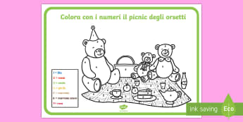 Il Picnic degli Orsetti Colora con i Numeri - orsetti, picnic, fogli, da colorare, colori, numeri, matematica, italiano, italian