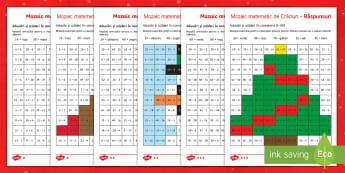 Mozaic de Crăciun - Colorează după codul rezultatelor - craciun, romana, matematică, fise, sarbători de iarnă, materiale, sarbatori de iarna, craciun, fi