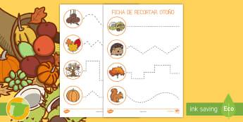 Ficha de motricidad fina: Recortar - Otoño - tijeras, punzón, castañas, cortar, estaciones, EI,,Spanish