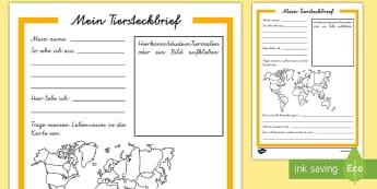 Mein Tiersteckbrief Arbeitsblatt - spring, animals, profile, habitat, Frühling, Tiere, Steckbrief, Lebensraum, German