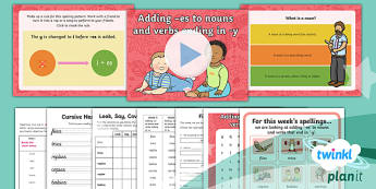 PlanIt Y2 Term 1B W5: 'ies' Spelling Pack - Spelling Packs Y2, Term 1B, Week 5, 'ies'