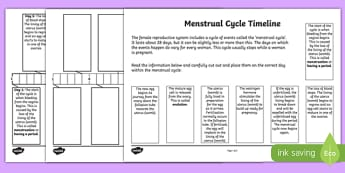 Sex and Relationships Education: Menstruation Timeline Activity Sheet Pack, worksheet