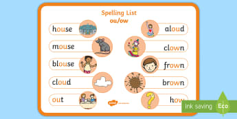 Spelling ou/ow Words Display Poster - CfE Outdoor Learning, nature, forest, woodland, playground, spelling, empty classroom day, grammar,