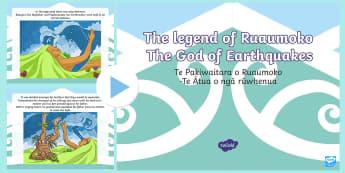 The Legend of Ruaumoko PowerPoint - ruaumoko, ruamoko, ruaimoko, earthquakes, volcanoes, ruwhenua, rūwhenua, kumekume a Ruaumoko