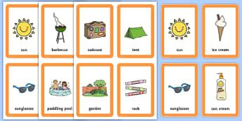 Summer Pairs Matching Game - games, activities, activity, pair