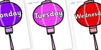 Days of the Week on Chinese Lanterns (Multicolour) - Days of the Week, Weeks poster, week, display, poster, frieze, Days, Day, Monday, Tuesday, Wednesday, Thursday, Friday, Saturday, Sunday