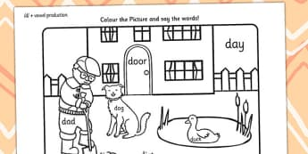 Word Inital d Production Colouring Scene - d, sounds, colouring