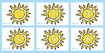 Numbers 0-50 on The Sun - 0-50, foundation stage numeracy, Number recognition, Number flashcards, counting, number frieze, Display numbers, number posters