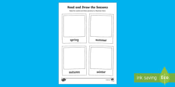 Read and Draw the Seasons - read and draw, read, draw, seasons, spring, summer, autumn, winter