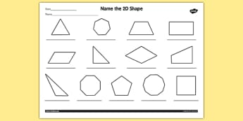 Name the 2D Shape Year 4 Worksheet - worksheet, 2d, shape, year 4