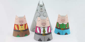 Three Little Pigs Cone Characters - three little pigs, crafts