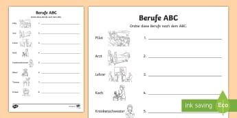 Berufe Alphabet: Wörter zum alphabetischen Ordnen - DE Girls\' Day, Berufe, Pilot, Lehrer, Krankenschwester, Tierarzt, Arzt, Koch, Bauer, Friseur, Alp