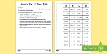 Squashy Boxes 11 Times Tables Craft - ireland, northern ireland, squashy boxes, squashy box, times tables, craft, box, activity, 11x