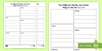 Two Different Worlds, One Life Fact File Activity Sheet - Key Stage One, KS1,Year One, Year Two, Year 1, Year 2, Refugee, Refugees, Worksheet, Refugee Week, S