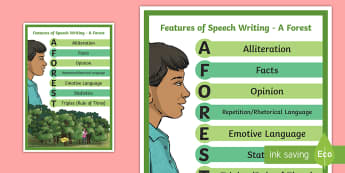 A Forest - Features of Speech Writing Display Poster - a forest, speech writing, ks2 english, poster, writing aid,