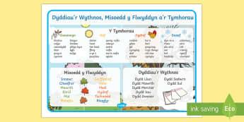 Dyddiau, Misoedd a mat geiriau Tymhorau Cymraeg - cymraeg, welsh, wales, days, months, years, seasons, word mat, word, mat