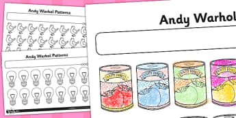 Activity Sheet Andy Warhol Patterns - andy warhol, patterns, worksheet