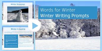 Writing Prompts Winter Presentation - KS3, KS4, Writing Prompts, Creative Writing, Winter, English, Snowmen, Snow, Christmas