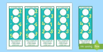 I'm a Problem Solver Sticker Reward Bookmarks - ROI Numeracy - Problem Solving,Irish