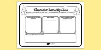 Character Investigation Reading Comprehension Activity - character investigation, comprehension, comprehension worksheet, character, discussion prompt, reading