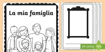 Il Libro della mia Famiglia - la, mia, famiglia, libro, fogli, da colorare, disgno, disegnare, italiano, italian