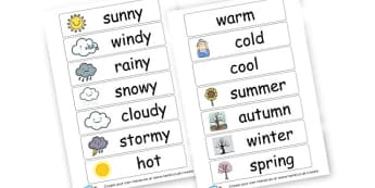 Weather Vocab Cards - Weather Literacy Primary Resources,Weather,Primary,Literacy,Words