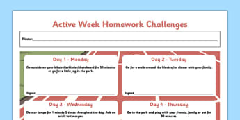 Active Week Homework Challenges - active week, homework challenges, active, week