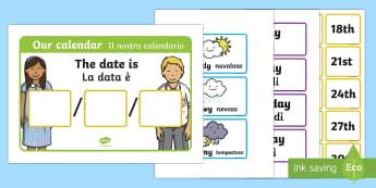 Daily Weather Calendar Chart English/Italian - Daily Weather Calendar Weather Chart - daily weather calender, weather chart, short date calender, s