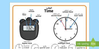 Time Vocabulary Word Mat Arabic/English - Time Vocabulary Word Mat - time vocabulary, word mat, writing aid, mat, vocabulary, time, day, secon