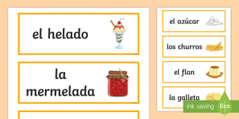 Sweets Word Cards Spanish - Spanish, Vocabulary, sweets, food, word, cards