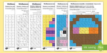 Karty Wielkanocna mozaika z mnożeniem - kwiecień, marzec, wielkanoc, wielkiej nocy, wielka, noc, kurczaczki, króiczki, święconka, wiosna