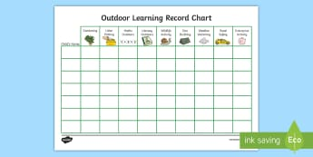 Outdoor Chart KS1 Record - chart, record, achievements, outdoor learning, tracking, display,Scottish