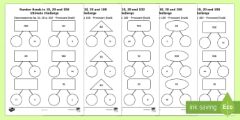 Number Bonds to 10, 20 and 100 Ultimate Challenge Activity Sheet English/Romanian - KS1, maths, numeracy, number bonds to 10, number bonds to 20, number bonds to 100, addition, adding