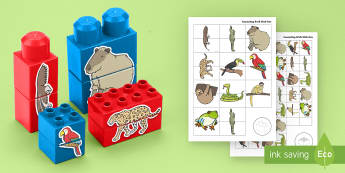 Amazon Rainforest Animals Matching Connecting Bricks Game - EYFS, Early Years, KS1, Connecting Bricks Resources, duplo, lego, plastic bricks, building bricks, a