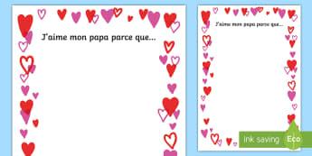 Bordures de page : La fête des pères - j'aime mon papa parce que, bordures de page, papa, fête des pères, fête, père, papa, production