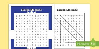 Eureka Stockade Word Search - Gold Rush, Eureka Stockade, gold, history, Australia,Australia