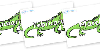 Months of the Year on Iguanas - Months of the Year, Months poster, Months display, display, poster, frieze, Months, month, January, February, March, April, May, June, July, August, September