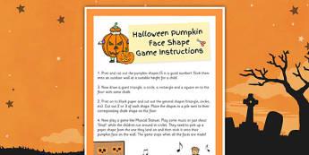Pumpkin Face Shape Game - pumpkin, face, shape, game, activity