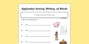 Writing ed Words Application Activity Sheet - GPS, suffix, verb, grammar, spelling, worksheet