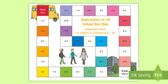 Subtraction Bus Board Game English/Romanian - Subtraction Bus Board Game - subtraction, bus, board game, board, game,EAL