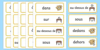 Cartes de vocabulaire pour exprimer la position - Position, prépositions, cartes