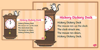 Hickory Dickory Dock Nursery Rhyme Poster - rhymes, poem, display