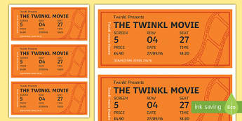 Cinema Role Play Tickets - Cinema, Film, movie, Role play, play, ticket, adult, child, popcorn, ticket, flick, love, drama, action, genres