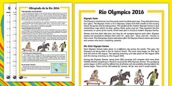 KS1 Rio Olympics 2016 Differentiated Reading Comprehension Activity Romanian Translation - romanian, Olympic Games 2016, KS1, olympics, Rio, Brazil, reading comprehension, questions